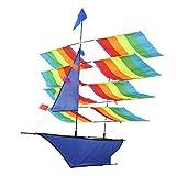 TOPINCN 3D Stereo Kite, Beautiful Huge Rainbow Sailboat Kite Outdoor Flying Kite Children Kids Kite Game Activity