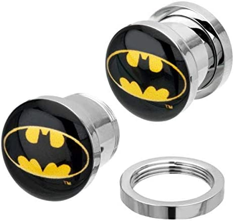 DC Comics Unisex Adult 00G Batman Logo Surgical Steel Screw Fit Plugs, Yellow and Black, One Size