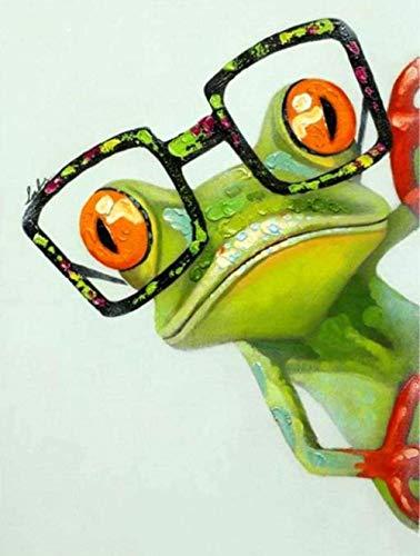 Acrylgemälde DIY Leinwand Ölgemälde Malen nach Zahlen Kit für Frosch mit Brille Kinder Studenten Erwachsene Anfänger Digital Zeichnung 40x50cm