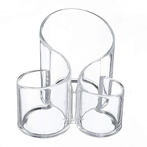 Yooyg Organizador de brochas de maquillaje, organizador de cosméticos acrílico, soporte para brochas de maquillaje acrílico, soporte para vasos de cosméticos en forma de S con 3 compartimentos