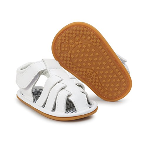 Infant Baby Boys Girls Summer Sandals PU Leather Rubber Sole Toddler First Walker Shoes (6-12 Months M US Infant, A-White)