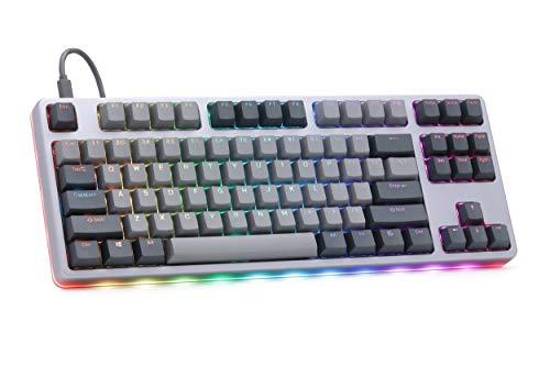 Drop CTRL High-Profile Mechanical Keyboard — Tenkeyless TKL (87 Key) Gaming Keyboard, Hot-Swap Switches, Programmable, Backlit RGB LED, USB-C, Doubleshot PBT, Aluminum (Gray, Cherry MX Brown)