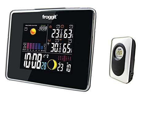 froggit WS50 SE Funk Wetterstation mit 1 Thermo-Hygrometer Funksensor, Wettervorhersage, Wecker, Temperatur, Luftfeuchtigkeit, Luftdruck (erweiterbar mit bis zu 3 Sensoren)