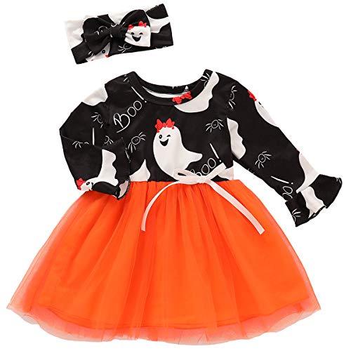 Borlai 2 unids/set niños niños bebé niñas tutú vestido con arco diadema Halloween tutú malla falda manga larga Swing vestido traje para 12M-4T