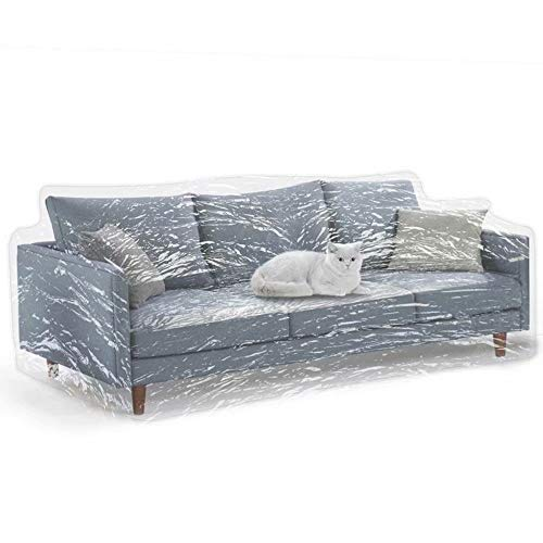 Clear Thicker Couch Cover for Pets, Heavy Duty Cat Scratch Sofa Cover for Protection Against Cat Dog Clawing, Waterproof Plastic Shield Covers for Couch, Sofa Slipover for Storage and Moving