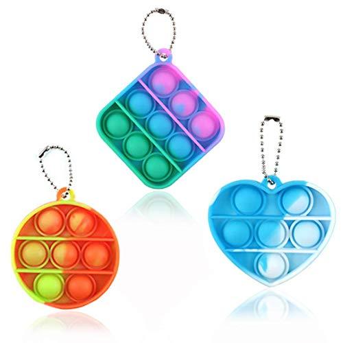 Mini juguetes sensoriales de burbujas multicolores, pequeño llavero de juguete anti estrés en silicona para apretar, juguetes para niños y adultos