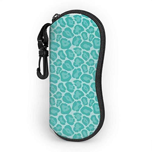 AOOEDM Estuche para gafas mosquetón, estuche blando para gafas de sol de neopreno portátil ultraligero con cremallera de leopardo verde azulado femenino