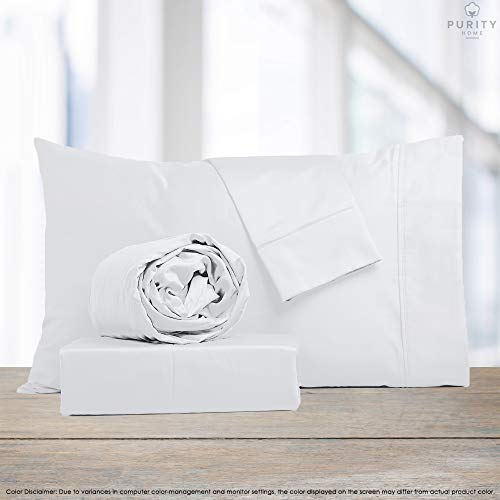 Purity Home 300 Thread Count 100%COMBED Cotton Sheet Set,4 Piece Set,Bestselling QUEEN SHEETS PERCALE Weave,Classic Z Hem,Cool & Breathable,PATENTED Fitted Sheet Fits Upto 18' Deep Pocket,ARCTIC WHITE