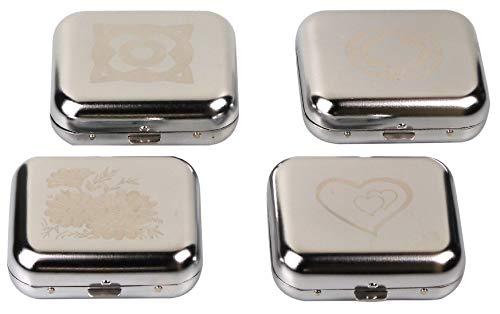 Taschenascher eckig aus Metall 60 x 53 x 20 mm mit Laser-Motiv Chrome glänzend.