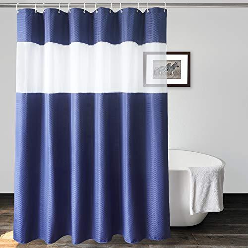 UFRIDAY Marineblauer Duschvorhang mit weißem Netzfenster, robuster Waffelstoff, Hotel dick, wasserdicht, Badezimmer-Vorhang, 183 x 183 cm