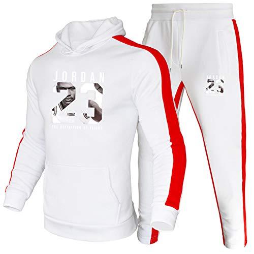 Hombre Chándal Conjunto Jordǎn 23# Baloncesto con Capucha Ropa Deportiva, Hombres Sudaderas Sudaderas y Pantalones Otoño Invierno al aire libre Jogging Ropa Blanco-L