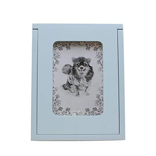 ペット仏壇 メモリアルボックス オリジナルイラスト付き オーダーメイド 骨壺収納 4寸まで 箱型 省スペース (ブルー)