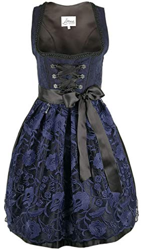 Iseaa Damen Dirndl Kleid Dirndlkleid Trachtenkleid Lena dunkelblau Spitze 40