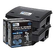 Pest Expert Formula B+ Rat Killer Poison Bait Blocks Single Feed Max Strength 600g + 2 Professional Rat Bait Boxes
