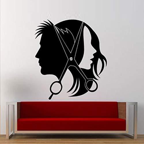 Hårsalong flicka kille sax avtagbara väggklistermärken för barberare butik vardagsrum vinyl konst dekaler tapet väggmålningar dekor 57 x 63 cm