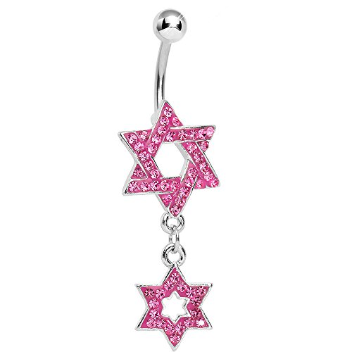 Body Candy Pink Paved Double Star of David Dangle Belly Ring