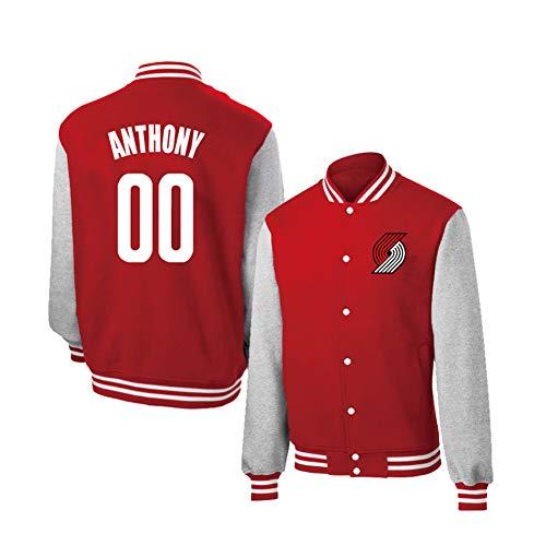 YUNAN Chaqueta universitaria para Hombre Portland Trail Blazers # 00 Carmelo Anthony Otoño Chaqueta de Jersey de Baloncesto Uniforme de béisbol-Red-L