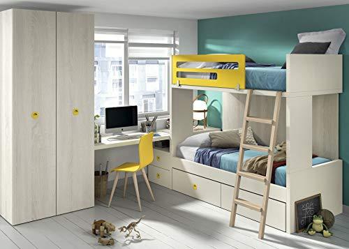 ambiato Kinderzimmer 50 Hochbett mit Gästebett 2 Schubladen Schreibtisch und Kleiderschrank
