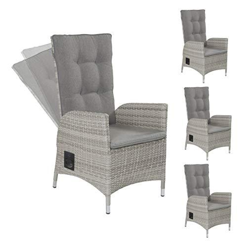 4X Gartenstuhl Gartensessel Positionsstuhl Verstellsessel Roma Dining grau Polyrattan Aluminium mit Auflage