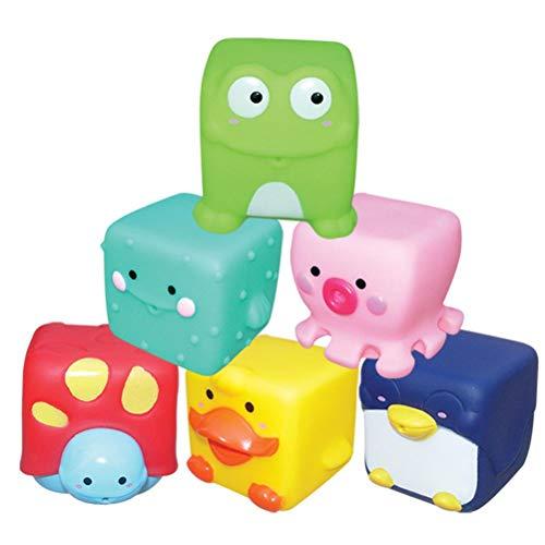 XOYZUU Juguete de baño, juguete flotante para bebé, 6 juguetes de agua para bañera, juego de juguetes luminosos de baño con lindo animal, canciones de juguete con batería de botón
