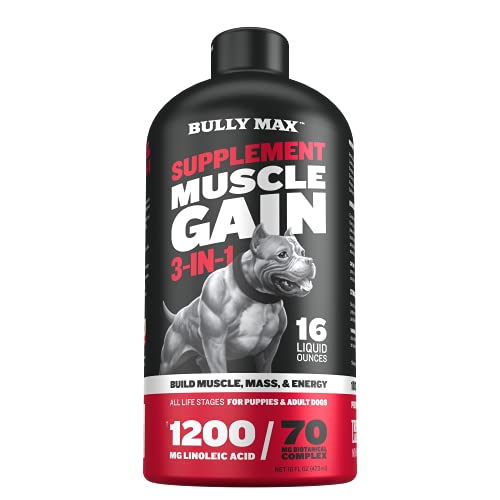 Bully Max 3-IN-1 Liquid Muscle Building Supplement For Dogs. For all breeds & ages. Clinically tested. #1-rated since 2008