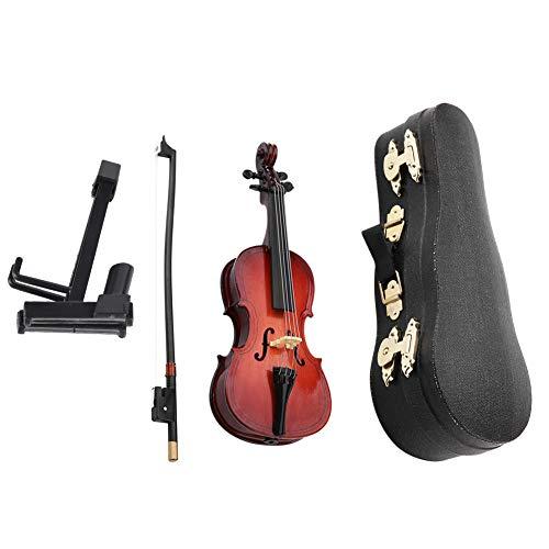 Walfront 5.5 'Dollhouse miniatura de madera violonchelo con soporte de arco y caso Instrumento Musical Accesorios Regalos Adornos