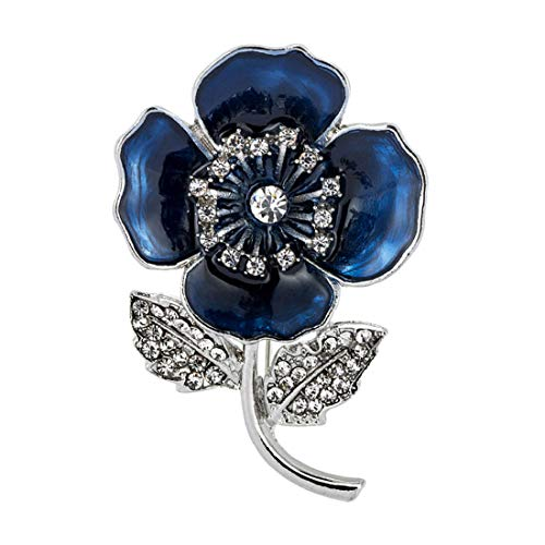 Poppy Brooch Diamante Crystal Flower Banquet Blue Poppy Lapel Pin Badges with Leaves Remembrance Day Gift 2020
