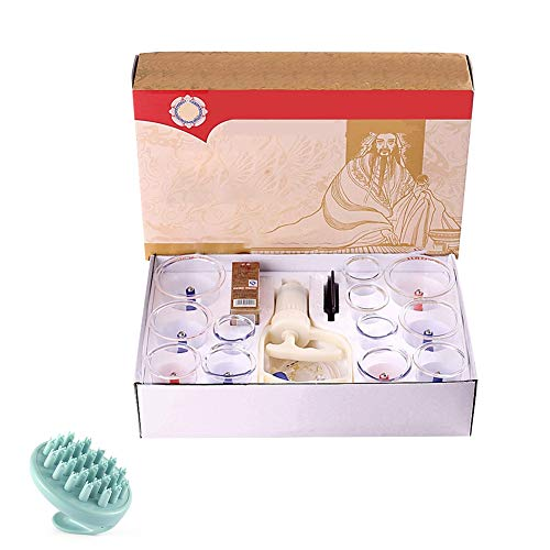 JKANGH 12 Cups Massage Cupping Set, Vacuum Suction Biomagnetic Chinese Acupoint Therapy, Home for Women and Men, Stress Muscle Relief, Best Gift for Parents Families