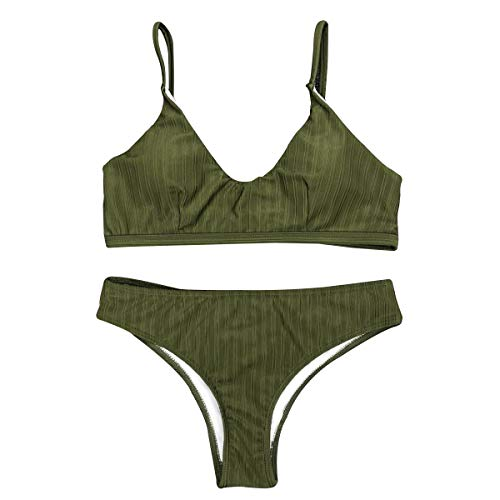 QJKJ Damen Dreieck Bikini, einfarbig Damen Bikini rückenfrei hoch elastisch Damen Bademode Strand Bad Bademode (Armee grün, M)