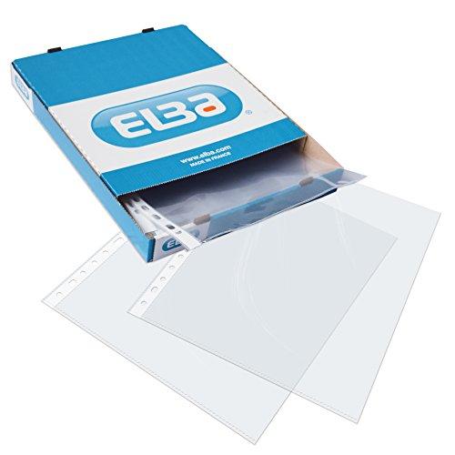 Elba 400005365 - Fundas plástico folio(A4), 100 unidades, Multitaladro, Piel de naranja