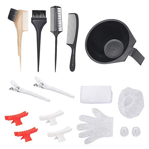 Trousse à outils pour teinture pour les cheveux Bol de mélange de couleurs Peigne à brosse pour teinture pour les cheveux Peigne à double face Clips de papillon Clips de bec de canard Couvre-oreille