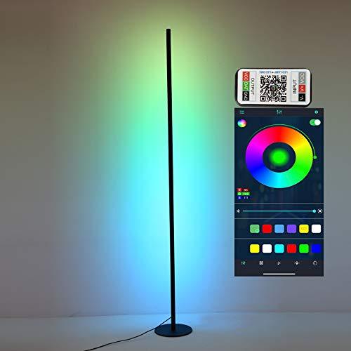 FYJK 140CM RGB Stehleuchte, Moderne minimalistische LED-Farbwechsel-Standleuchte, Spielzimmer Dimmbares schwarzes Atmosphärenlicht für Zimmer Schlafzimmerbalkon,Mobile app
