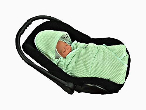 MOMIKA Einschlagdecke, Universal für Babyschale, Autositz, für Kinderwagen, Buggy oder Babybett,stylischer Silberfaden