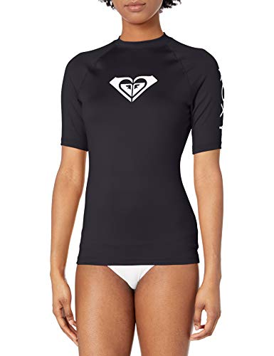 Roxy Junior's Whole Hearted Short Sleeve Rashguard, Anthracite 2020, L