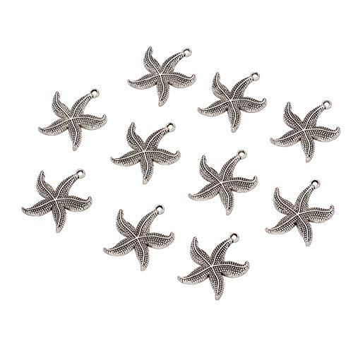 Pandahall 100 colgantes de aleación de estrella de mar estilo tibetano de 26 x 23,5 mm de plata envejecida, colgantes para bricolaje, collares y pulseras y bisutería.