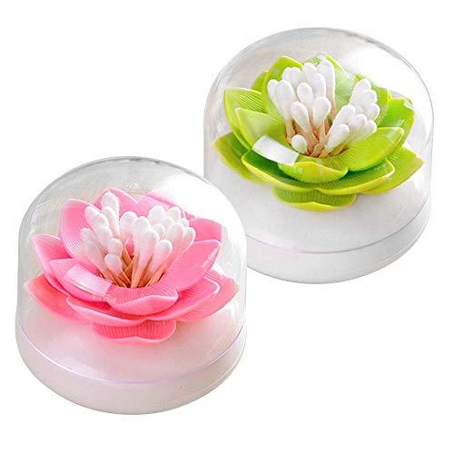 Maquillage Boîte de Rangement Cotons-tiges Organisateur Buds Distributeur Cure-dents Support en Forme de Lotus per Home Décorer, 2 Pièce Récipient
