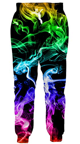 Men Women Flame Cool 3D Colorful Smoke Fog Sweatpants Jogger Pants Funny Graphic Casual Gym Lounge...