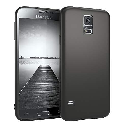 EAZY CASE Handyhülle Silikon mit Kameraschutz für Samsung Galaxy S5 in schwarz matt, Ultra dünn, Slimcover, Silikonhülle, Hülle, Softcase, Backcover