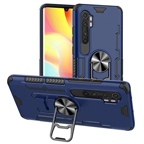 TANYO Custodia Adatto per Xiaomi Mi Note 10 Lite, Anello Metallico Cavalletto e Serie di Supporti per Auto Magnetici, Silicone TPU+PC Cassa Ibrido Doppio Strato. Blu