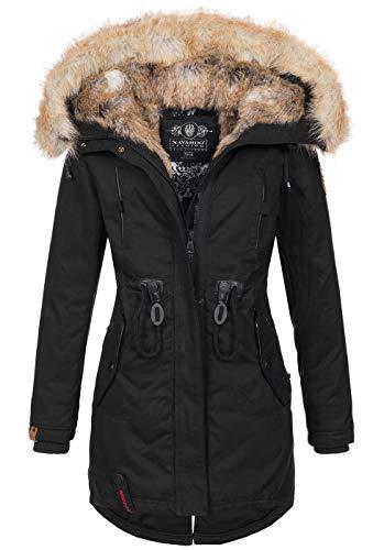 Navahoo warme Damen Winter Jacke lang Kunstfell Winterjacke Parka Mantel B660 [B660-Bomb-Schwarz-Gr.XS]