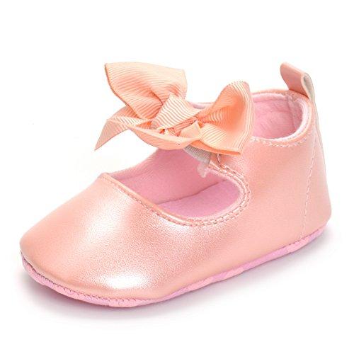 ESTAMICO Baby Mädchen rutschfest Weiche Leder Bowknot Taufschuhe Kleinkind Sneaker, 12-18 Monate ( hersteller größe: 3 ), Rosa