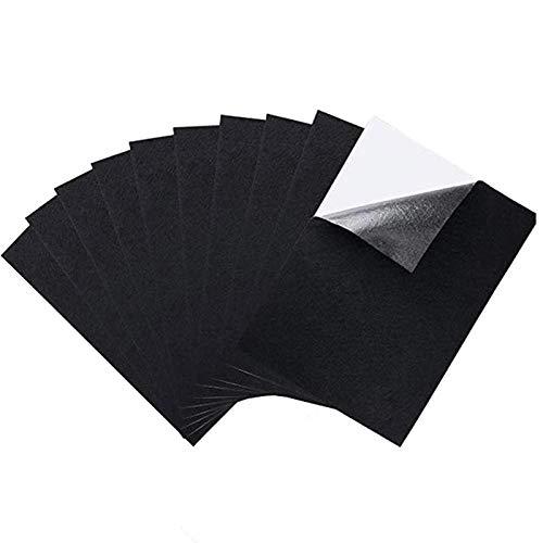 10 hojas de fieltro adhesivas, tela de terciopelo negro con parte trasera adhesiva,hojas de fieltro A4,autoadhesivas resistentes al agua, pegatinas de tela de terciopelo para cajones de joyería