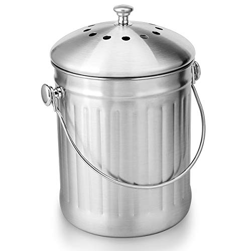 Compost Bin, ENLOY Stainless Steel Indoor Compost Bucket for Kitchen Countertop Odorless Compost Pail for Kitchen Food Waste with Carrying Handle and 2 Charcoal Filter 1.3 Gallon Easy to Clean