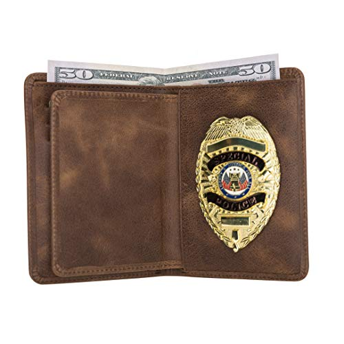 Police Badge Wallet, All Leather, Fits Any Shape Badge with Pin Back -Saddle Brown