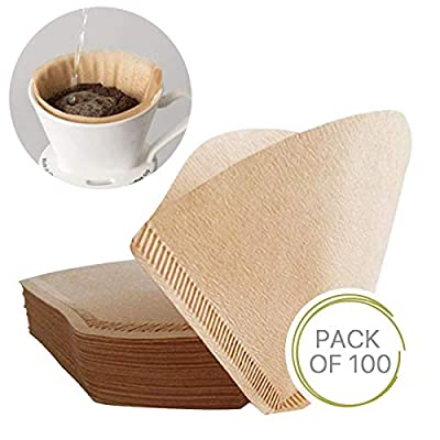 100Pcs Size 2 Special 102 Coffee Filter Paper Disposable Natural Unbleached Original Wooden Drip Paper Suitable for Coffee Machines and Coffee Cones