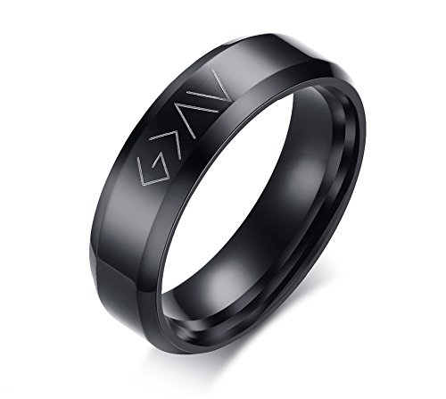 VNOX Christian Stainless Steel God is Greater Than The Highs and Lows Rings for Men Women,Black,Size 9