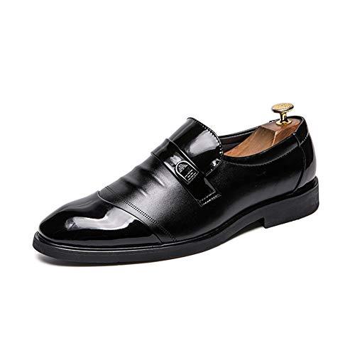 Zapatos de cuero para hombres Milestery Business Oxford para Hombres Moda Zapatos de vestir de ocio con resbalón de decoración de la aleación en cuero de microfibra Toel plano de punta plana transpira