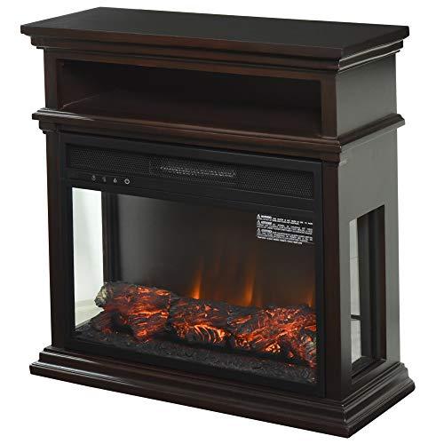 HOMCOM Electric Fireplace with Shelf, Storage Rack, Side Console Table, LED Log Flame, and Auto Heating, White