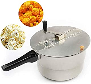 Popcorn Maker Pop pop-corn Stovetop Popper Hand Crank Bouilloire Popcorn Popper manche en bois - argent