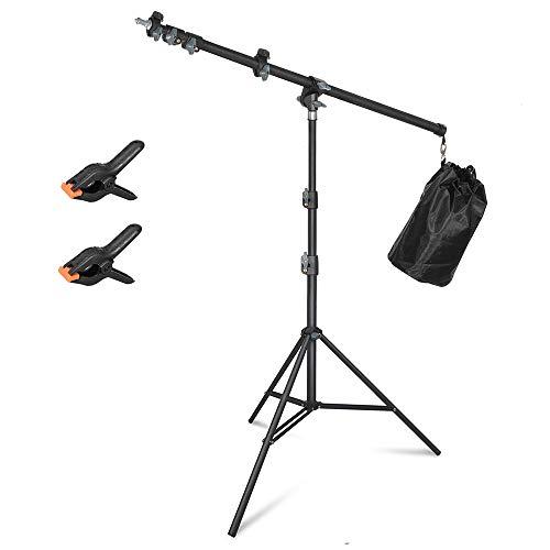 Hemmotop ライトスタンド 2m + ブームアーム 210cm + レフ板ホルダー キット ブツ撮りから俯瞰写真まで 背景 撮影スタンド クロマキー布/撮影照明/ソフトボックス 用 レフ板スタンド アルミ製